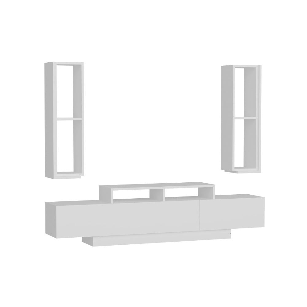 Set bieleho TV stolíka a 2 nástenných políc Gardo Yumy