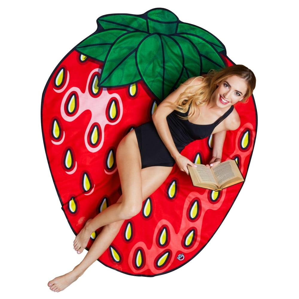 Plážová deka v tvare jahody Big Mouth Inc., 152 cm × 122 cm