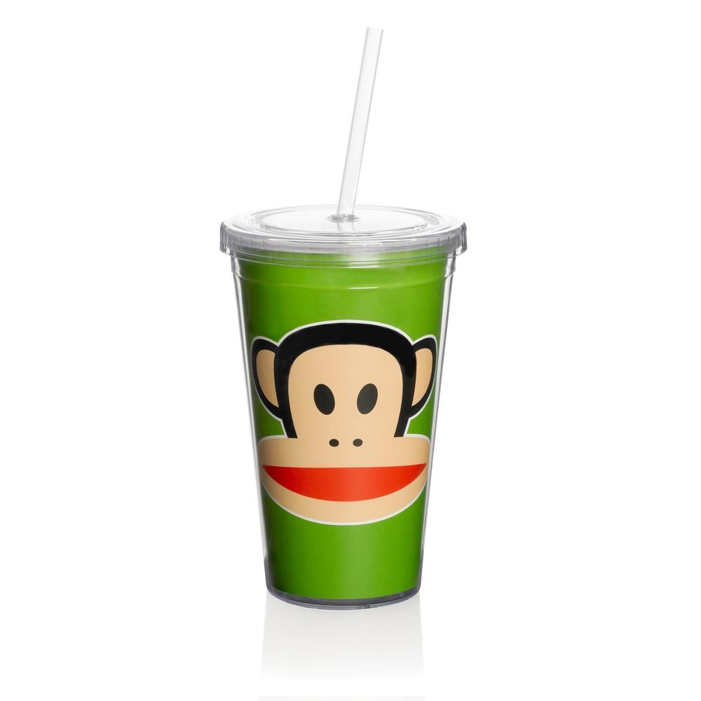 Zelený hrnček Paul Frank so slamkou
