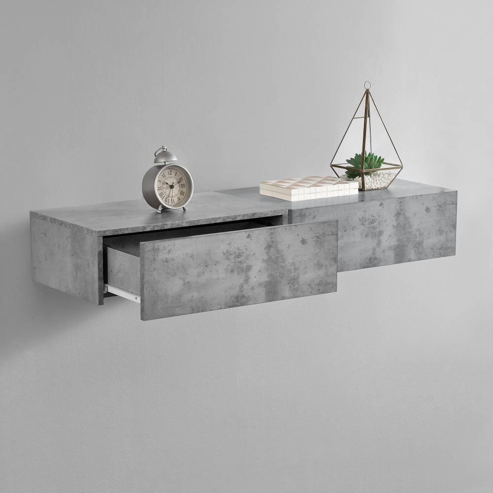 [en.casa]® Nočný stolík na stenu - dvojkombinácia - imitácia betónu