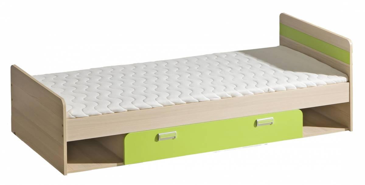 Jednolôžková posteľ 80 cm L13 (s roštom) (zelená)