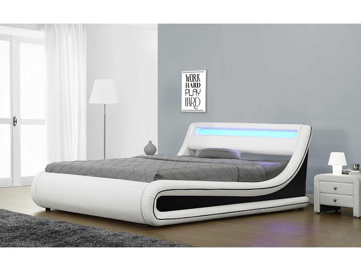 Manželská posteľ 180 cm Manila (s roštom, úl. priestorom a LED)