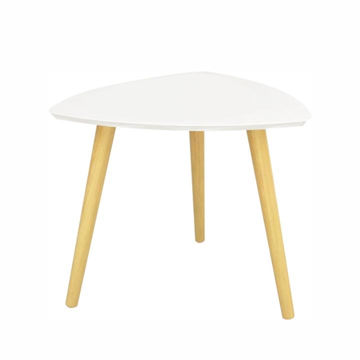 TEMPO KONDELA Príručný stolík, biela/drevo natural, TAVAS