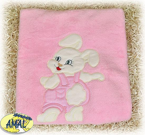 AMAL Obojstranná deka ZAJAČIK, ružová