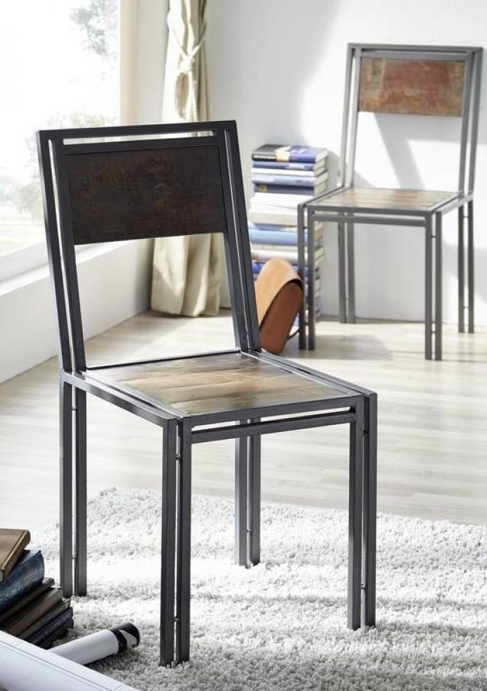 NEW YORK stolička #20 staré lakované indické drevo/kov