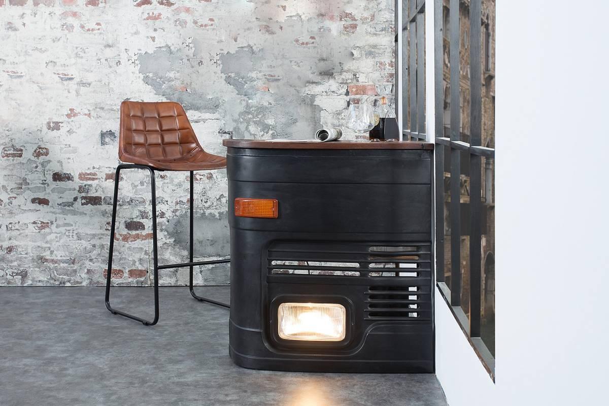 Bighome - Barový stolík CAR 81 cm orientované vľavo - viacfarebná, čierna