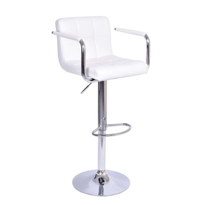 TEMPO KONDELA Barová stolička, biela ekokoža/chróm, LEORA New