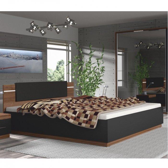 TEMPO KONDELA DEGAS 180 manželská posteľ s osvetlením - orech / čierna