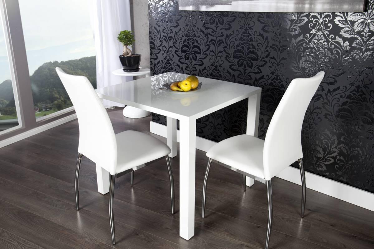 Jedálenský stôl LUCANTA - biela vysoký lesk
