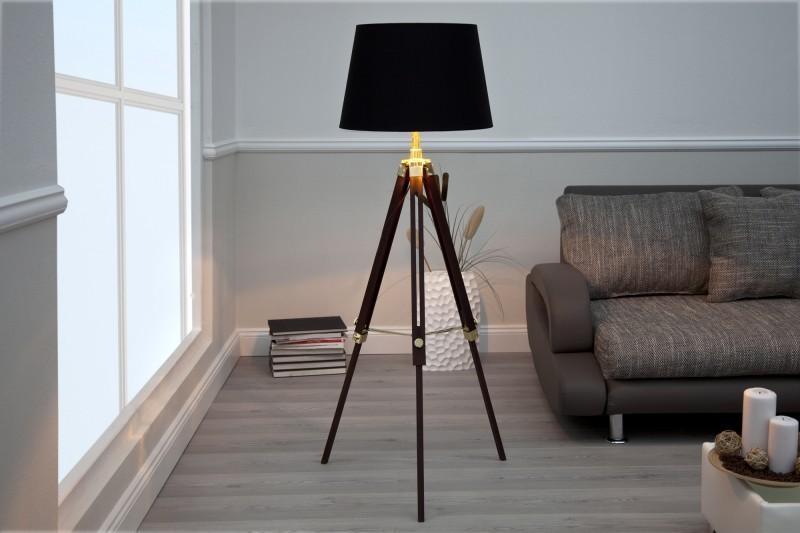 Stojaca lampa PYXIS výškovo nastaviteľná - hnedá/čierna