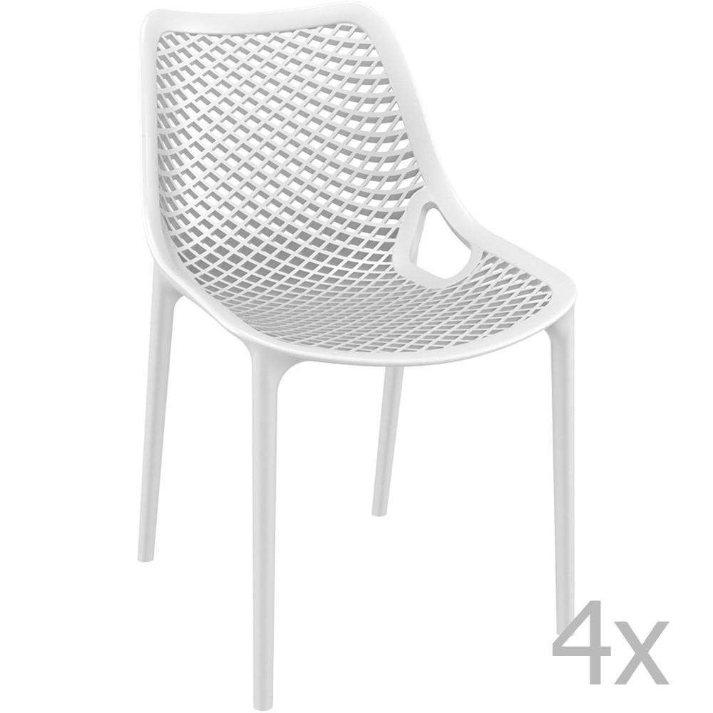 Sada 4 bielych záhradných stoličiek Resol Grid Simple