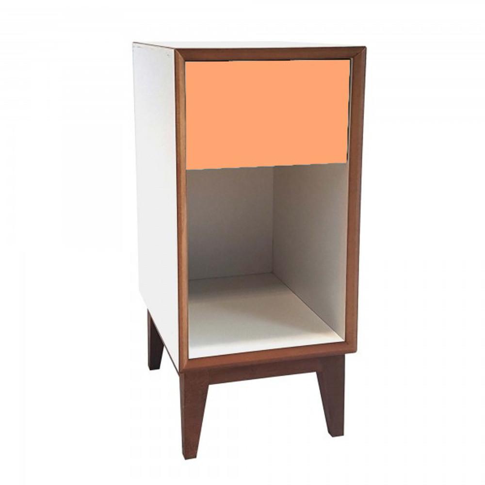 Malý nočný stolík s bielym rámoma oranžovou zásuvkou Ragaba PIX