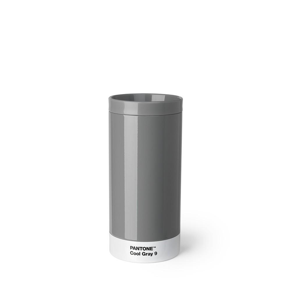 Sivý cestovný hrnček z antikoro ocele Pantone, 430 ml