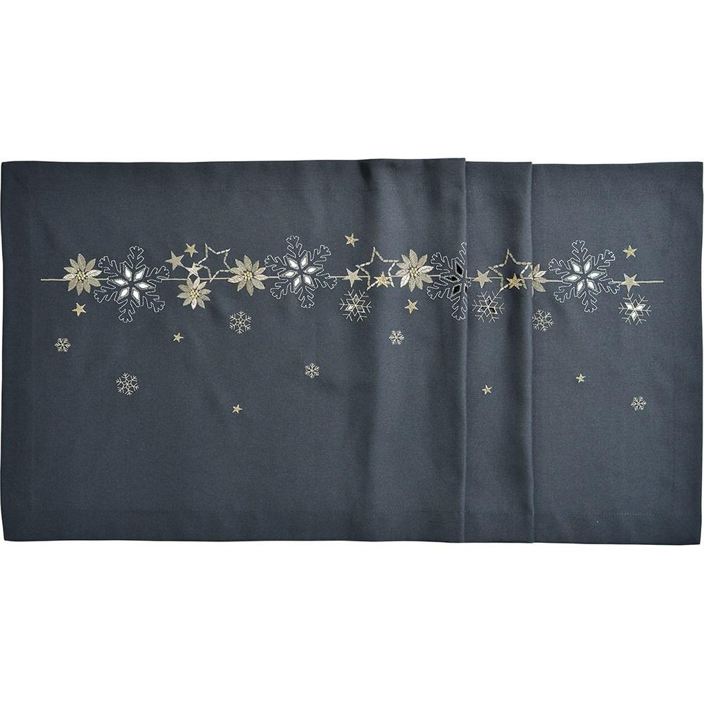 Sander Obrus Christmas flake antracitová, 40 x 100 cm