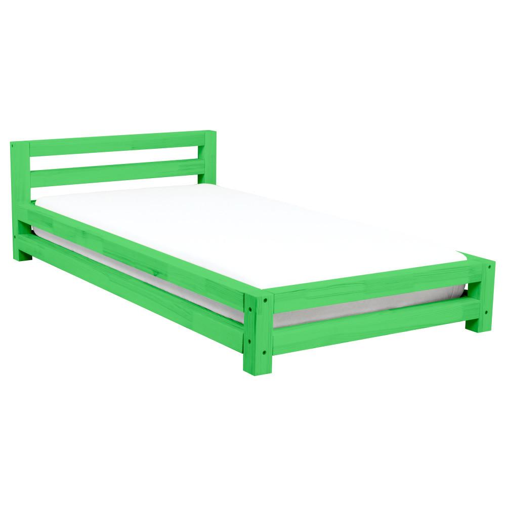Zelená dvojlôžková posteľ zborovicového dreva Benlemi Double, 180x200cm
