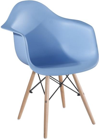 Stolička - kreslo, modrá+buk, DAMEN
