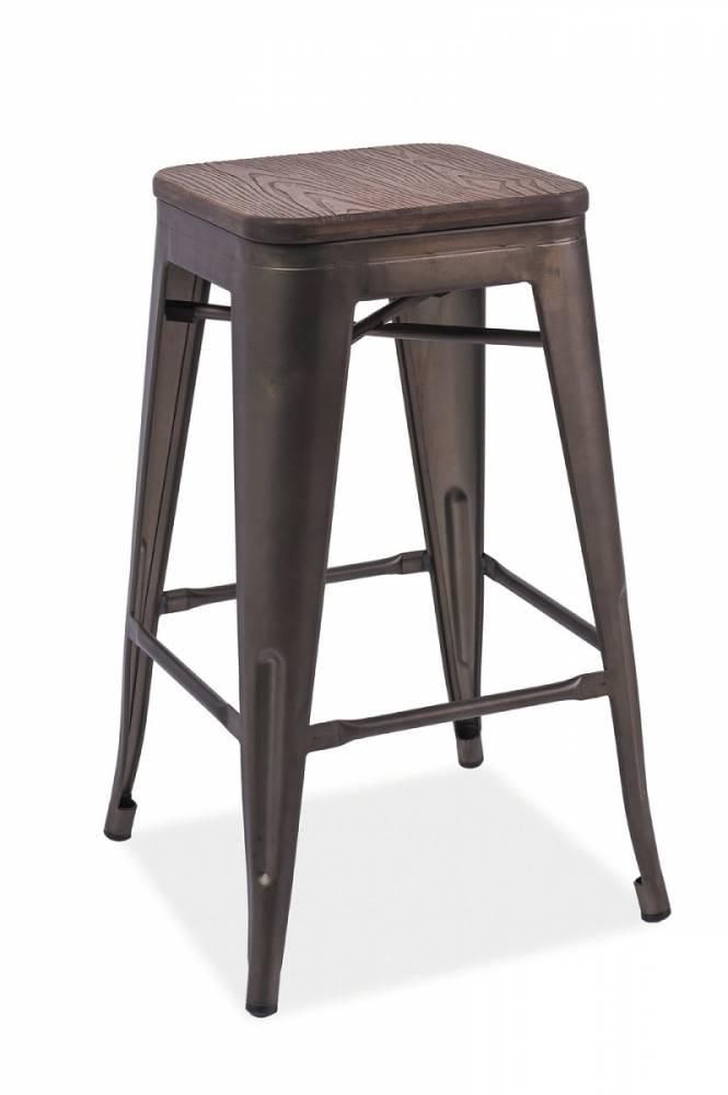 LANG barová stolička, tmavý orech/sivá