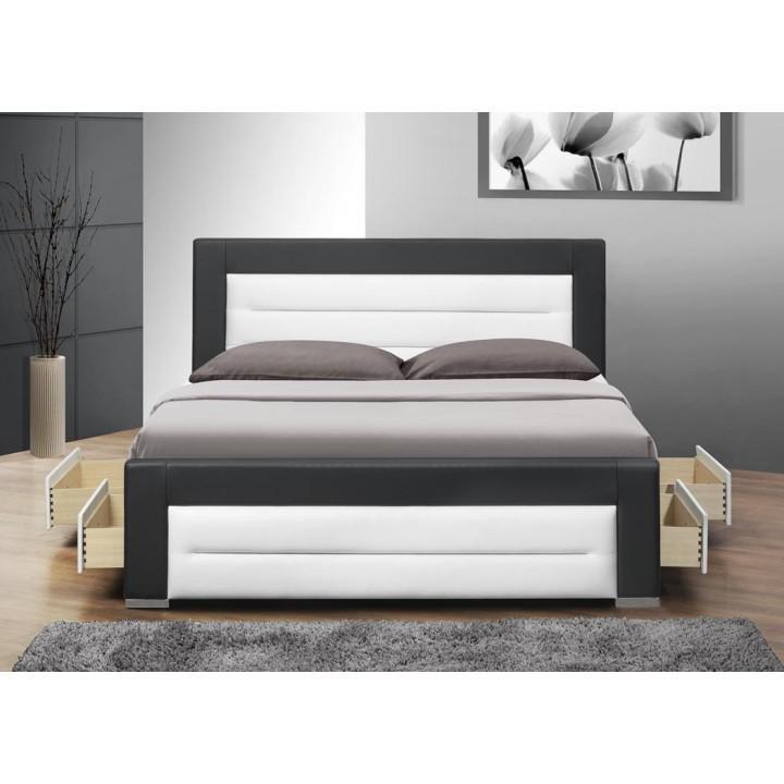 TEMPO KONDELA Manželská posteľ, s roštom a šuflíkmi, ekokoža čierna/biela, 160x200, NAZUKA
