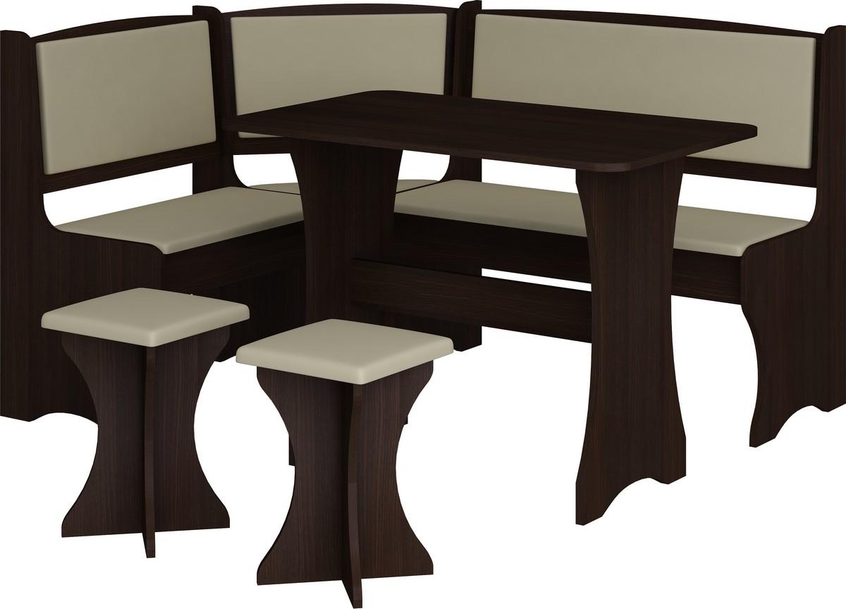 Rohový jedálenský set wenge + ekokoža (s taburetkami) (pre 5 osôb)