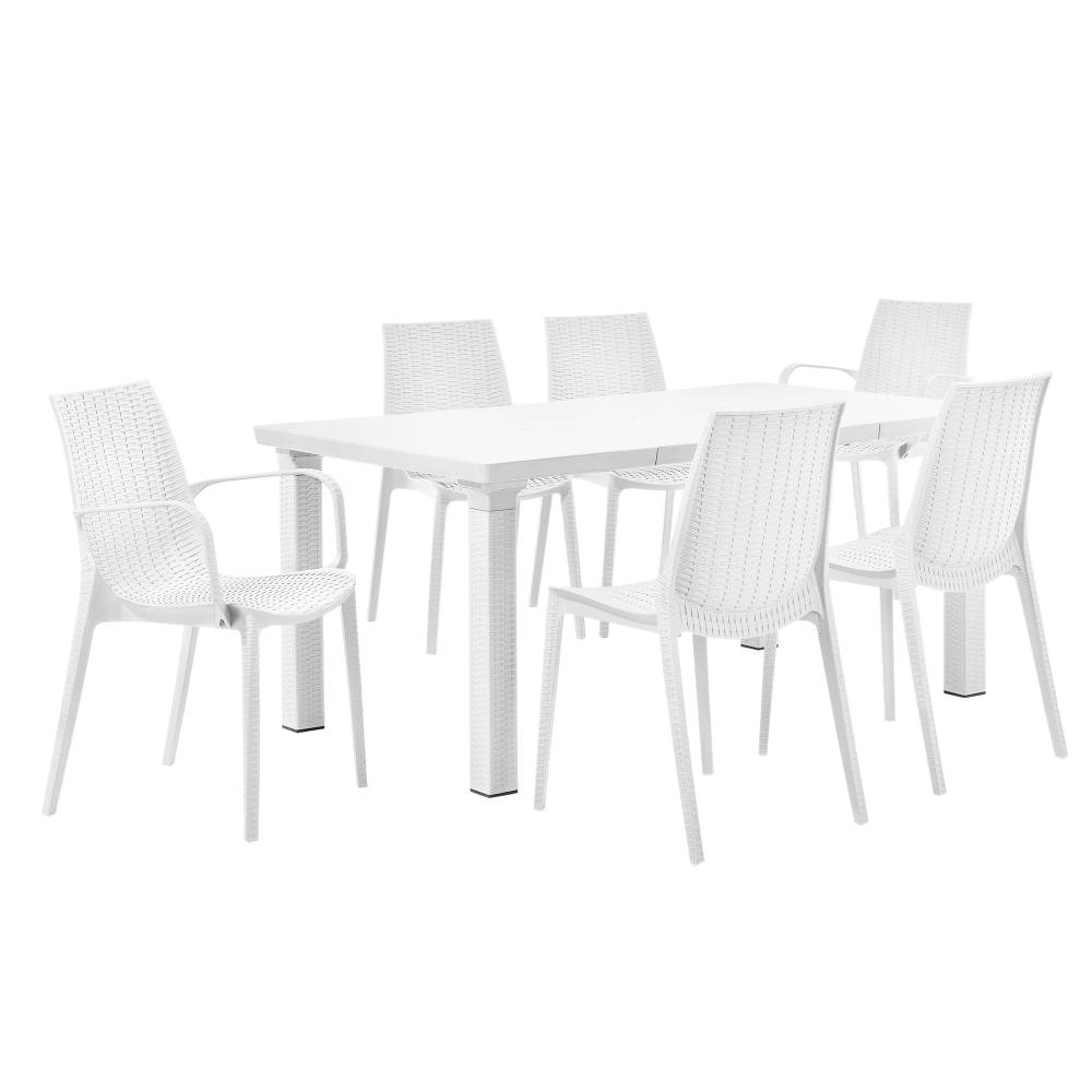 [casa.pro]® Ratanový záhradný stôl so 6 stoličkami - biely