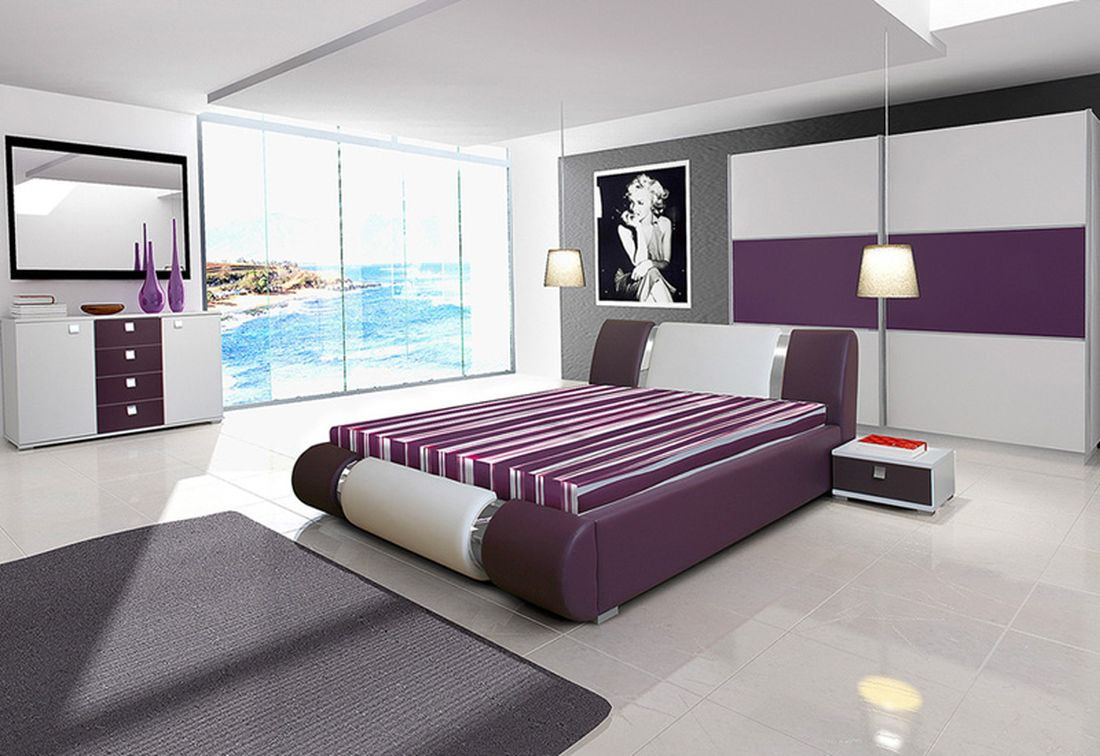 Ložnicová sestava AGARIO II (2x noční stolek, komoda, skříň 200, postel AGARIO II 140x200 + ÚP), bílá/fialová lesk