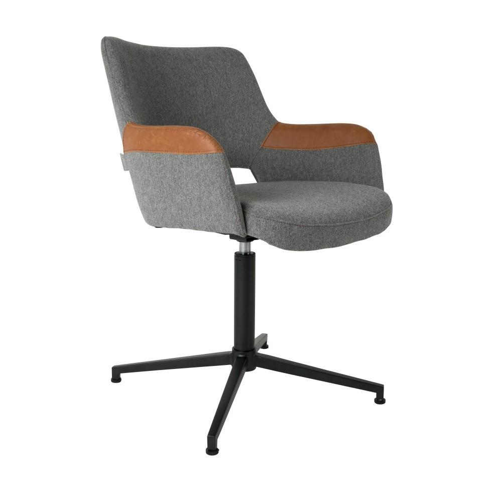 Sivá kancelárska  stolička s hnedým detailom Zuiver Syl