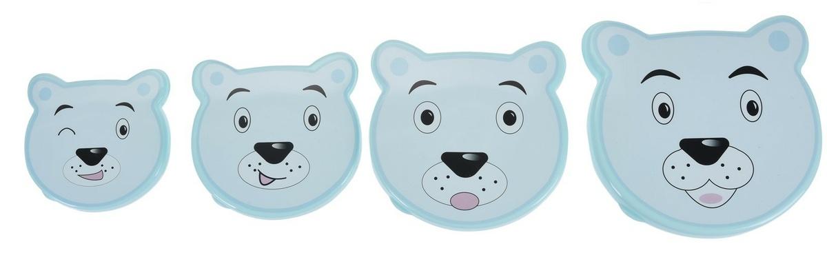 4-dielna sada desiatových dóz Bear, modrá