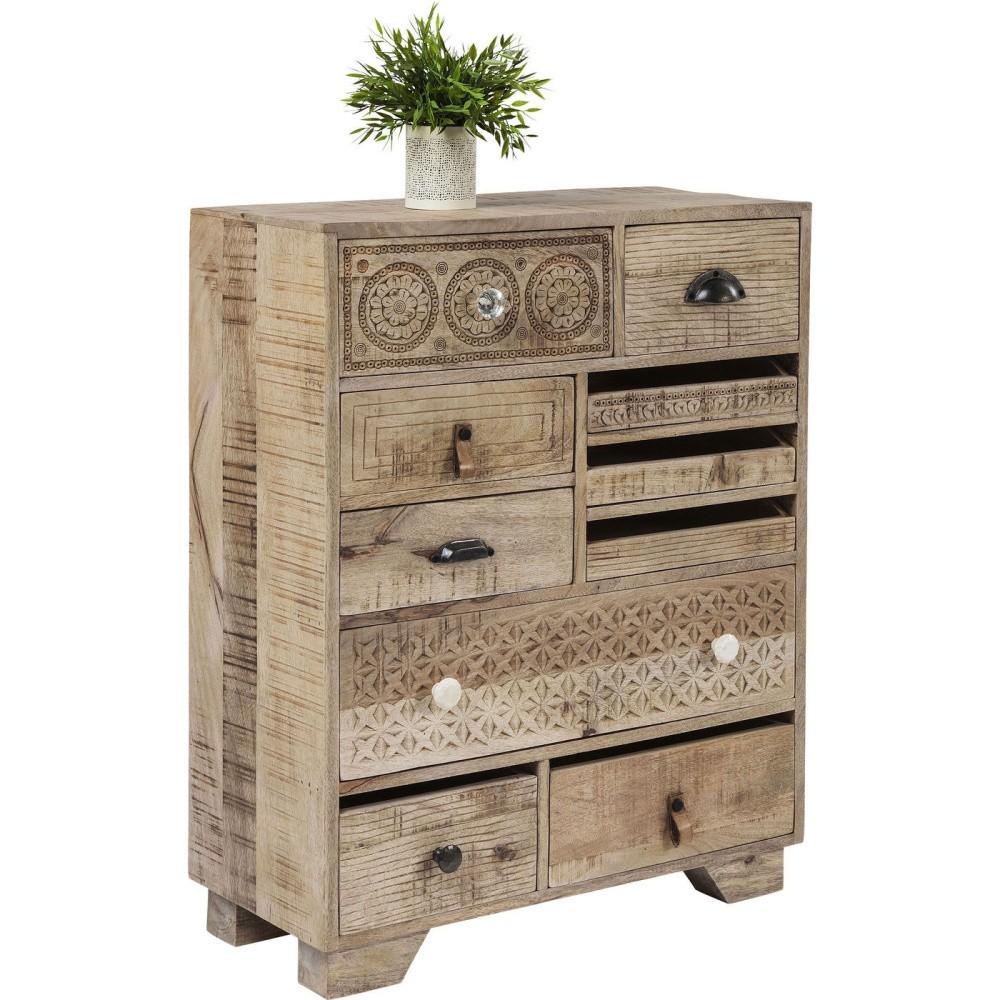 Komoda s 10 zásuvkami a ručne vyrezávanými detailmi Kare Design Puro