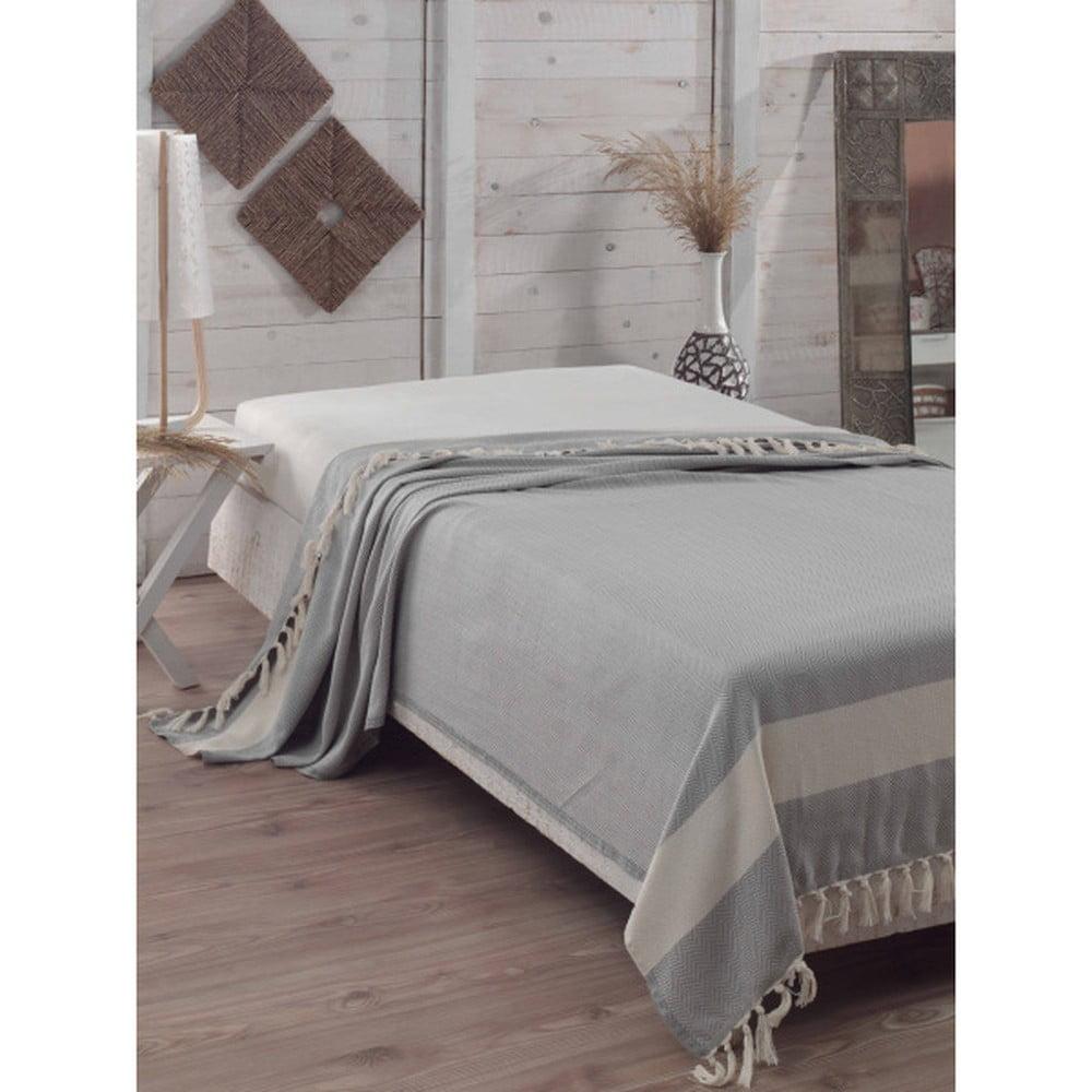 Bavlnená prikrývka cez posteľ Baliksirti Grey, 200 x 240 cm
