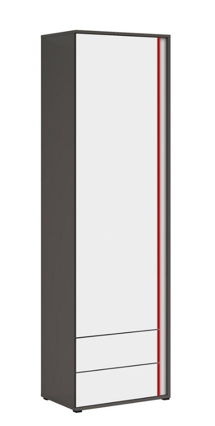 Skriňa Graphic REG1D1S/C P/L   Prevedenie: ľavé : sivý wolfram / biely / červený