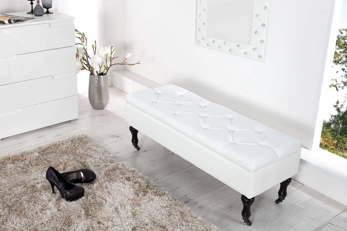 Taburetka s úložným priestorom BOUTIQUE - biela