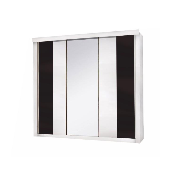 TEMPO KONDELA 3-dverová skriňa, biela/čierna, Rublin