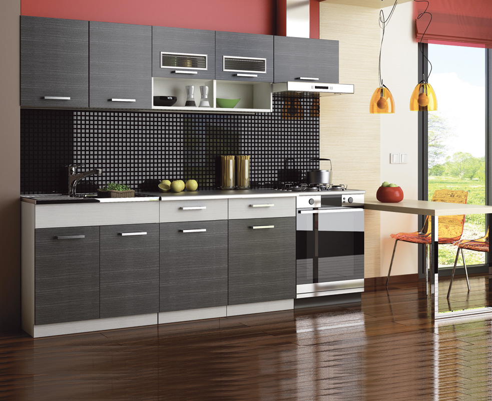 Kuchyňa MOREEN II 240, grafit/siva platina