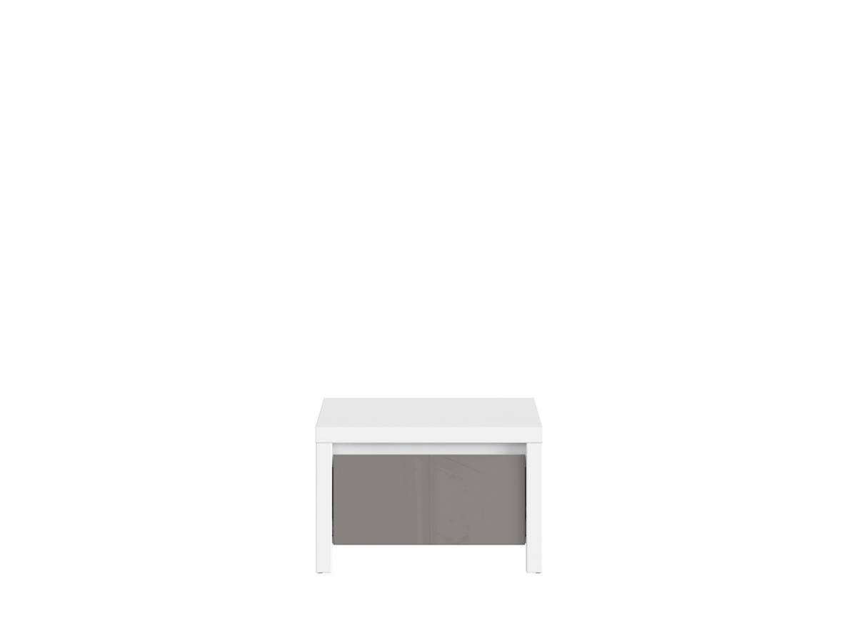 Nočný stolík Kaspian KOM1S (biela + sivý lesk)