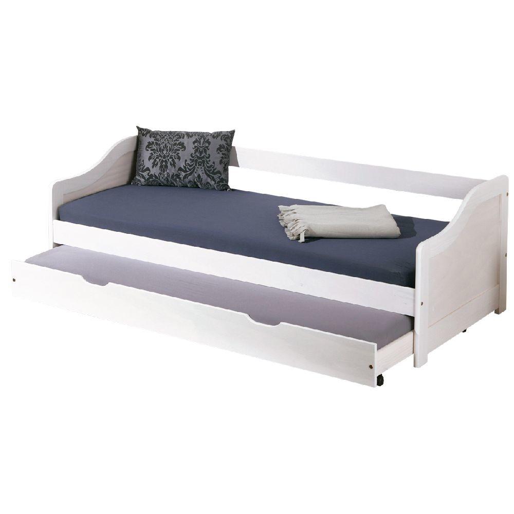 Biela drevená jednolôžková posteľ 13Casa Leon White, 90 x 190 cm