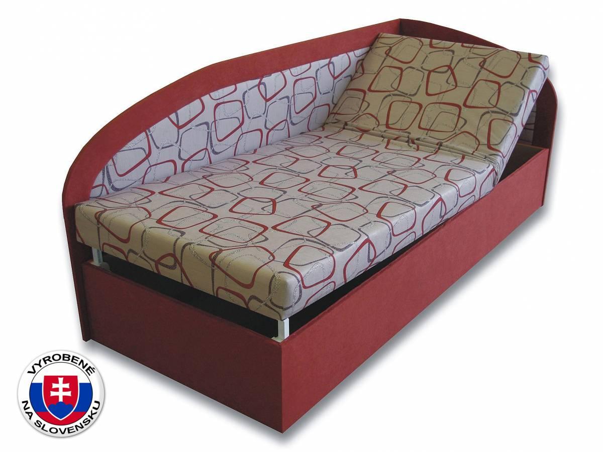 Jednolôžková posteľ (váľanda) 90 cm Kamila (Tehlová 41 + Dodo 1008) (P)