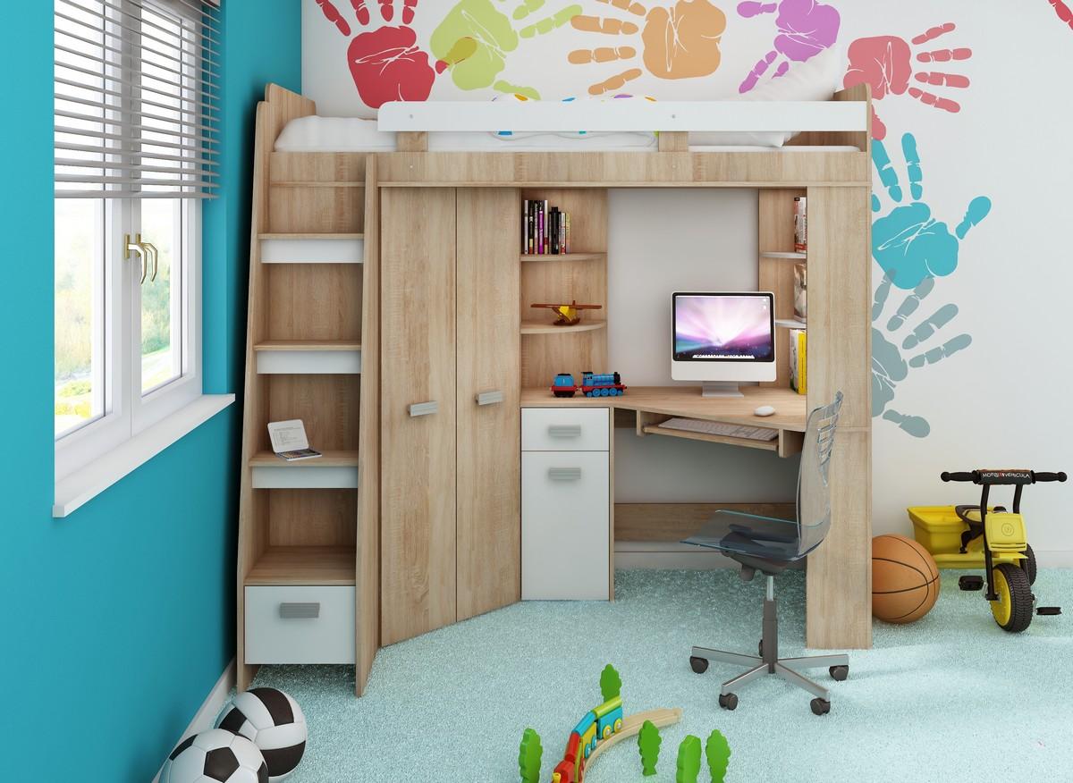 Rohová poschodová posteľ Antresola (L) Sonoma + biela (s roštom)