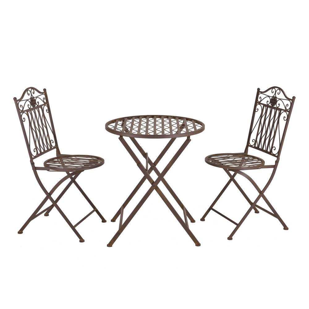 [casa.pro]® Bistro sada - okrúhly stôl + 2 stoličky - hnedá