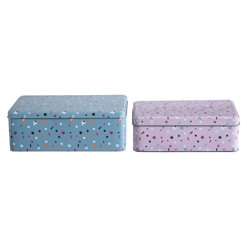Sada 2 cínových úložných boxov Premier Housewares Stellar, 13×20 cm