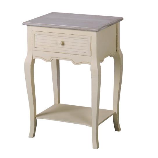 Krémový nočný stolík z topoľového dreva Livin Hill Pesaro