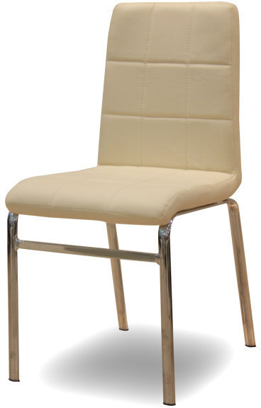 Chrómová stolička, chróm/ekokoža béžová, DOROTY NEW