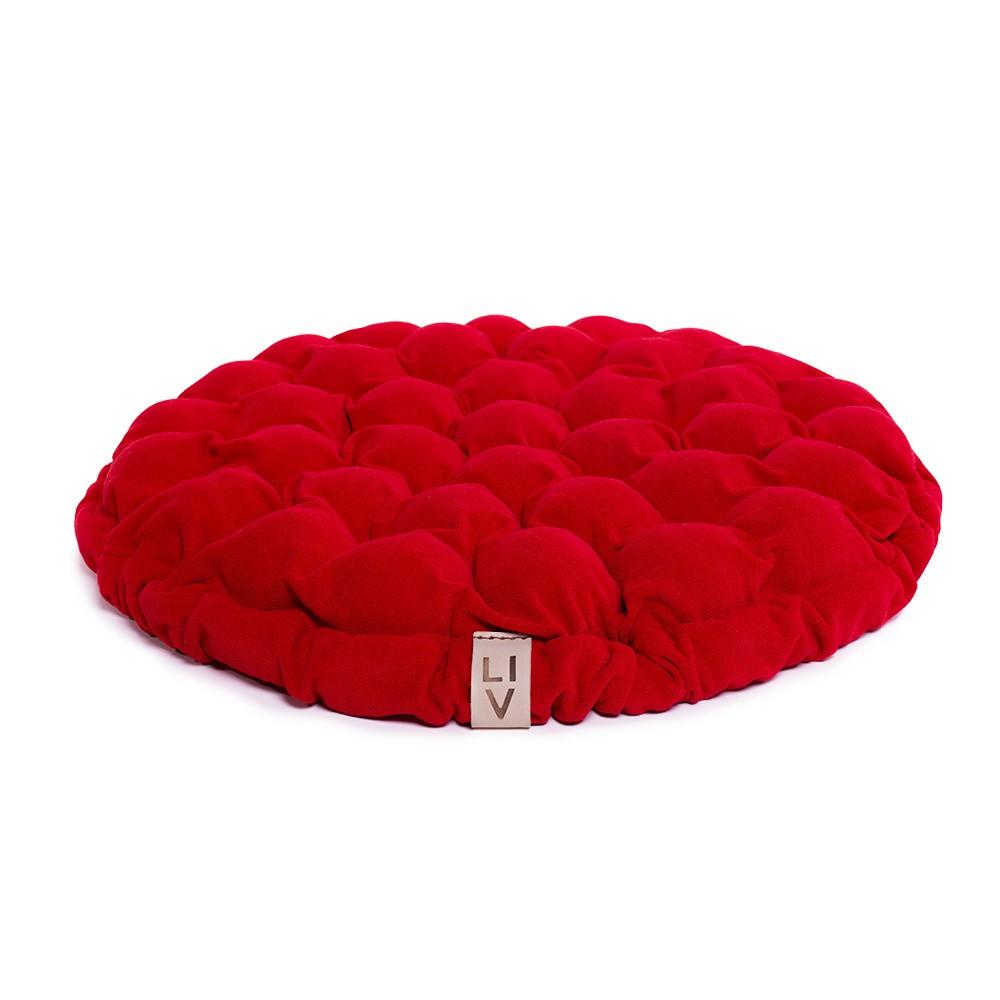 Červený sedací vankúšik s masážnymi loptičkami Linda Vrňáková Bloom, Ø 65 cm