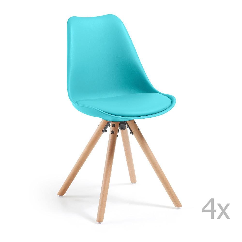 Sada 4 tyrkysových jedálenských stoličiek s dreveným podnožím La Forma Lars