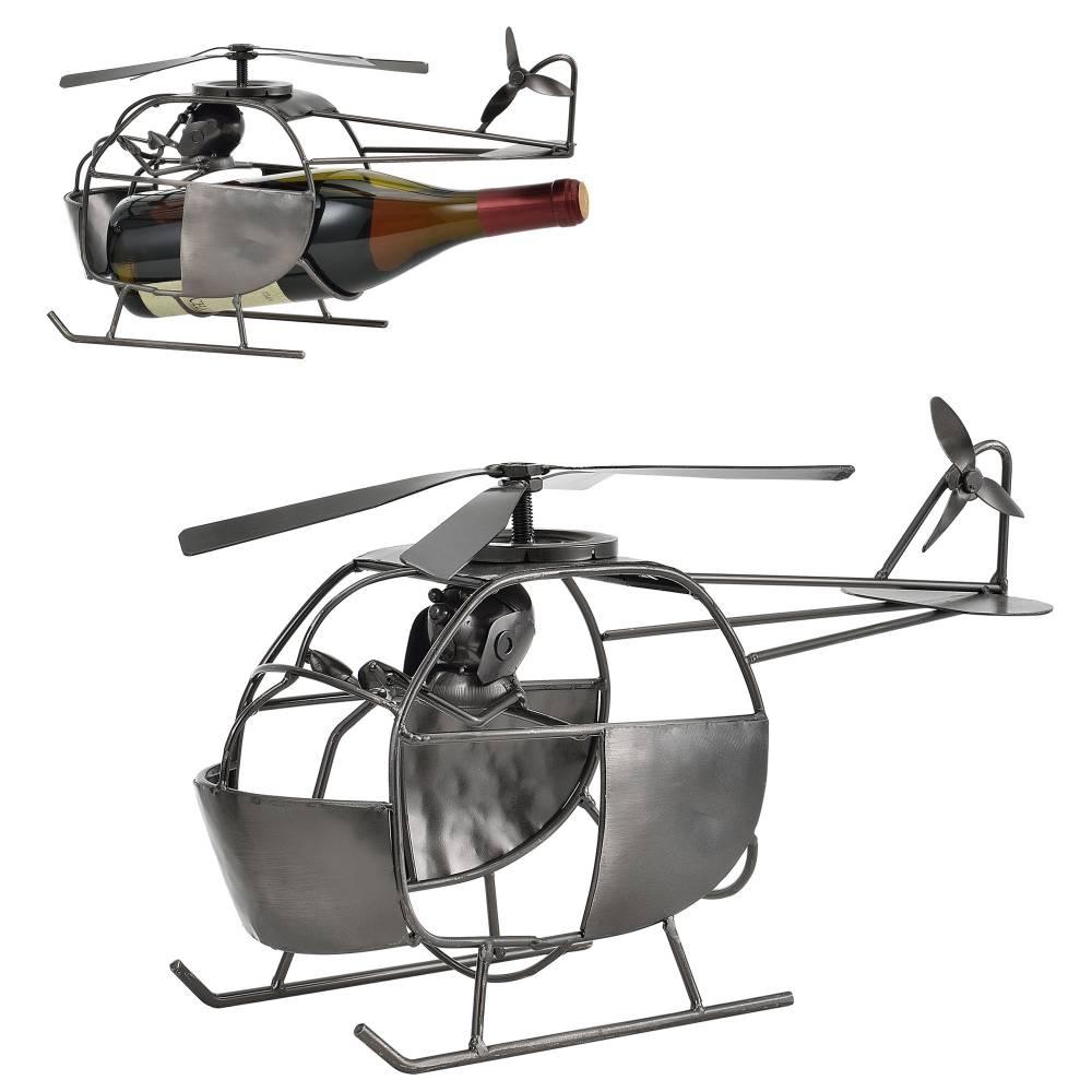 [en.casa]® Stojan na víno-helikoptéra -  40 - 5 x 15 - 8 x 22 cm - strieborný