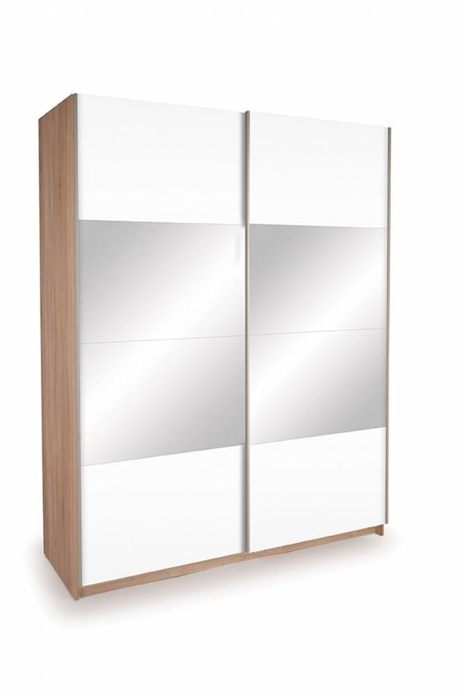 Skriňa EKO PLUS ST14 dub sonoma + biela/zrkadlo 150