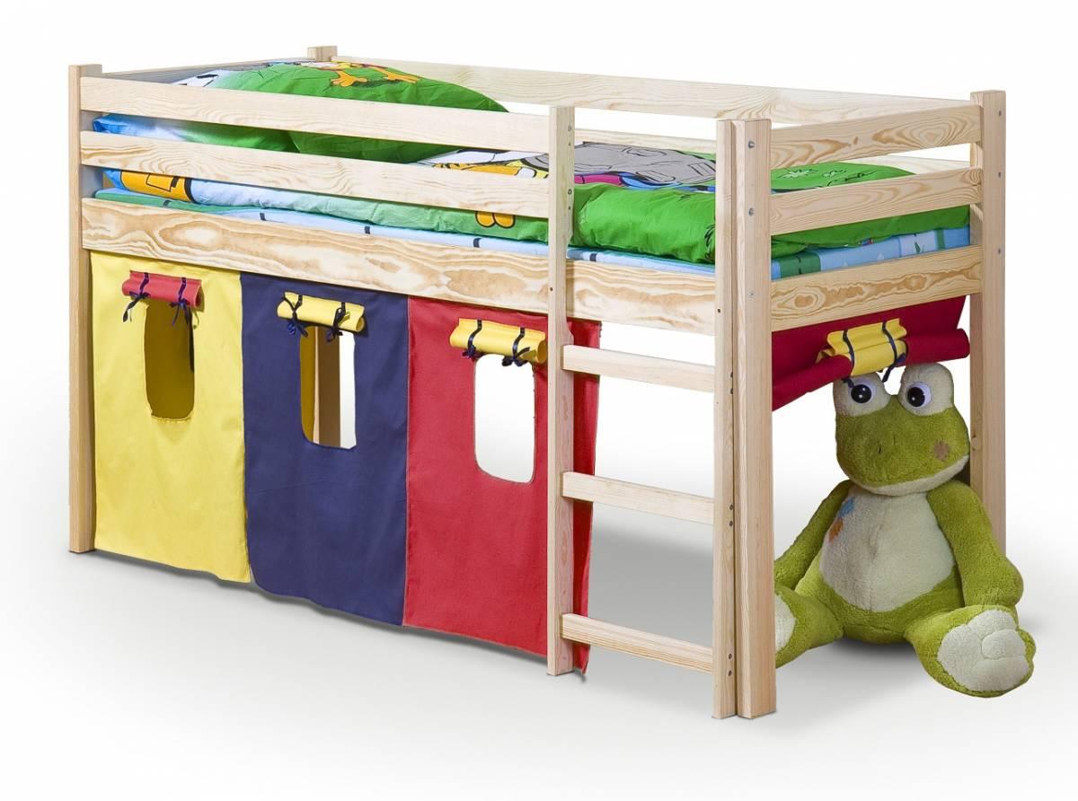 Poschodová posteľ 80 cm Neo Borovica (masív, s roštom a matracom)