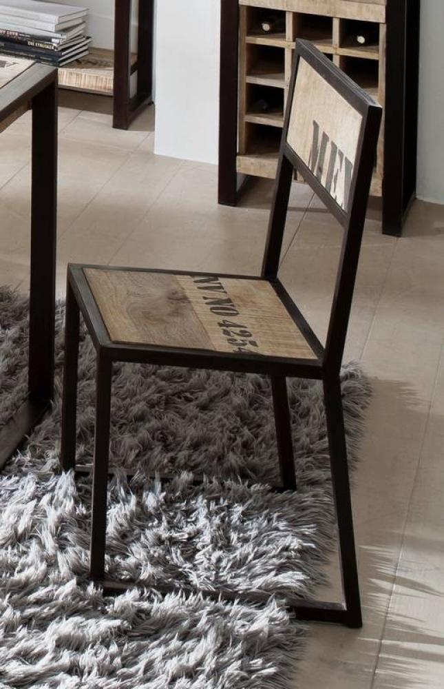 FACTORY stolička #109, liatina a mangové drevo, potlač