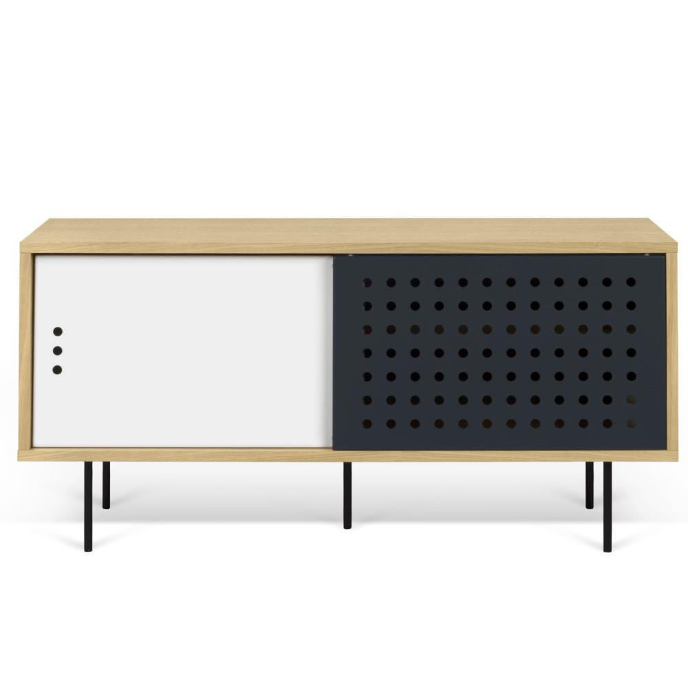 TV komoda v dekore dubového dreva s čierno-bielymi detailmi TemaHome Dann Dots, dĺžka 135 cm