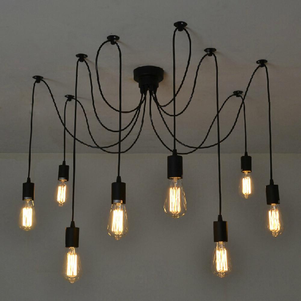 Čierne stropné svietidlo Deveron, 8žiaroviek