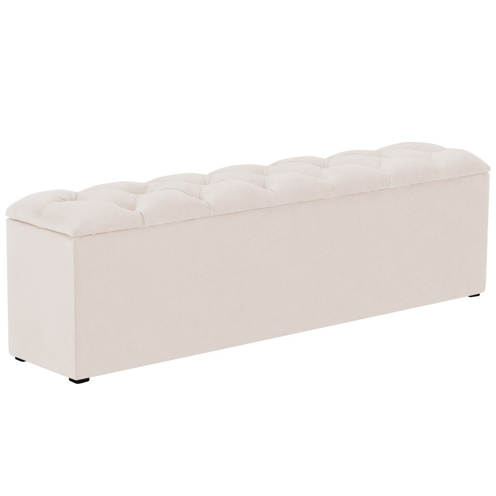 Béžový otoman k posteli s úložným priestorom Kooko Home Manna, 47 × 200 cm